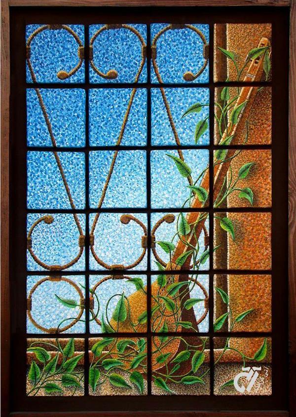 هنر نقاشی و گرافیک محفل نقاشی و گرافیک ایرج ملکی سه تار . #آکرلیک  ( ۱۰۰ × ۷۰ ) مواد . رنگ و کاشی های دکوراتیو دست ساز