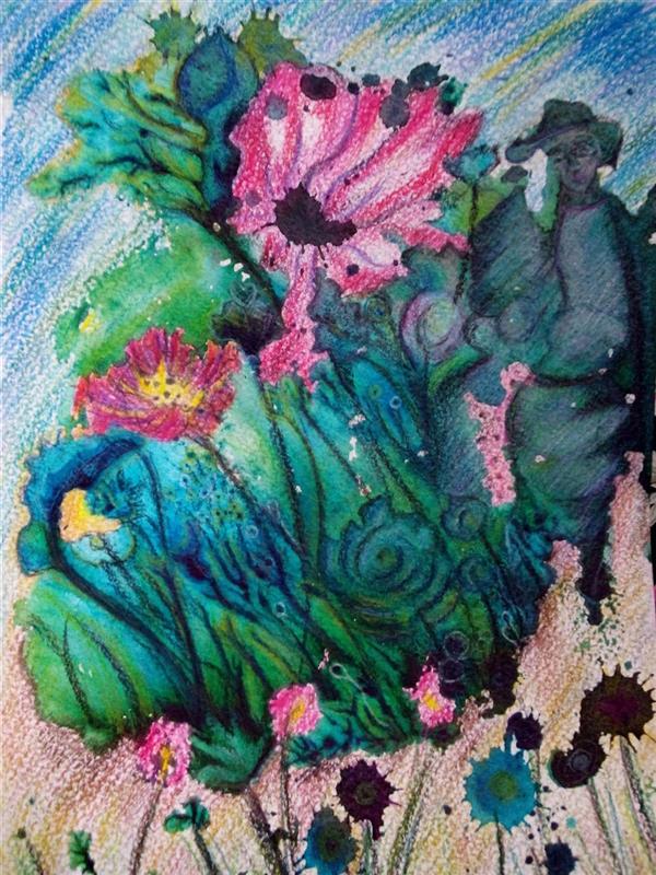 هنر نقاشی و گرافیک محفل نقاشی و گرافیک سمانه رمضانی سمانه رمضانی    مونوپرینت (آب مرکب ومدادرنگی) زن درباغچه.....13.18 سانتیمتر