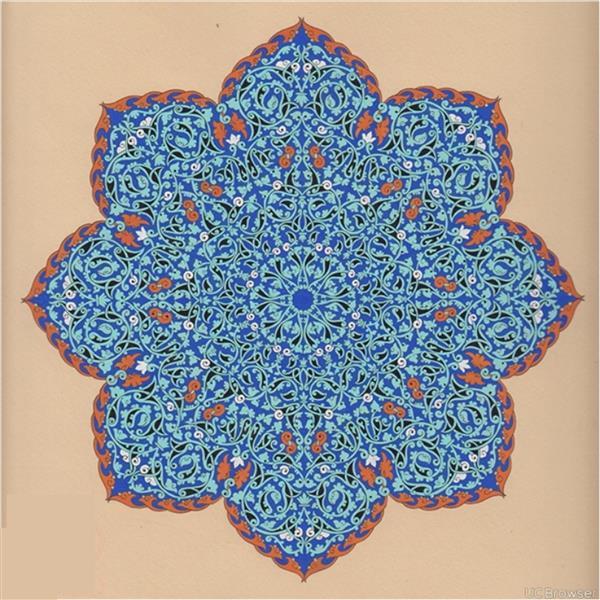 هنر نقاشی و گرافیک محفل نقاشی و گرافیک محمدظهرابی اثر فوق با تکنیک گواش و آبرنگ کار شده است و تماما از خطوط اسلیمی جهت طراحی شمسه استفاده شده . نام طرح زهر شیرین هست .