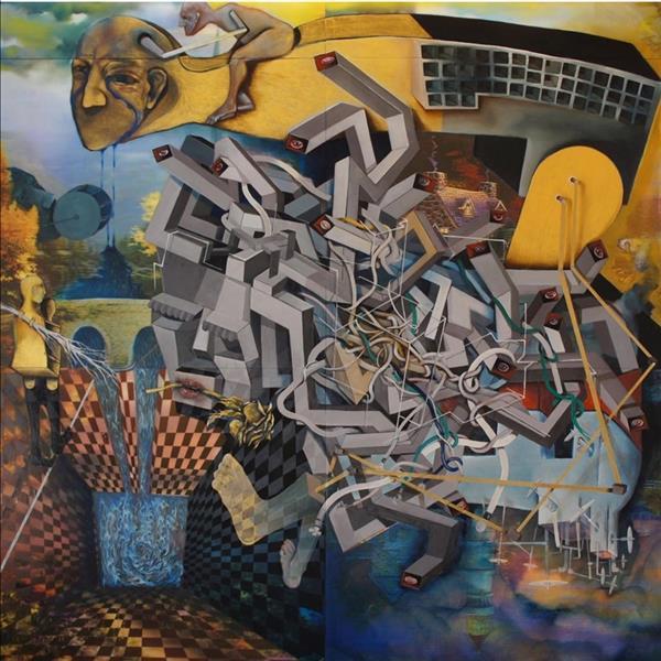 هنر نقاشی و گرافیک محفل نقاشی و گرافیک 100honar هنرمند: اله یار نجفی / نام اثر: مدوسا / رنگ روغن روی صفحات لنتی کولار #فروخته_شد