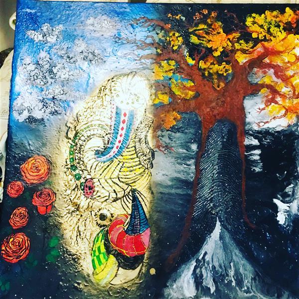 هنر نقاشی و گرافیک محفل نقاشی و گرافیک Milad Paras Alone 100*100cm oilcolor+acrylic