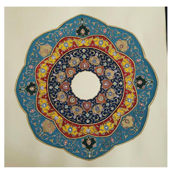هنر نقاشی و گرافیک محفل نقاشی و گرافیک پریسا سلطانی #طراحی شمسه  #تذهیب  تکنیک گواش و آبرنگ