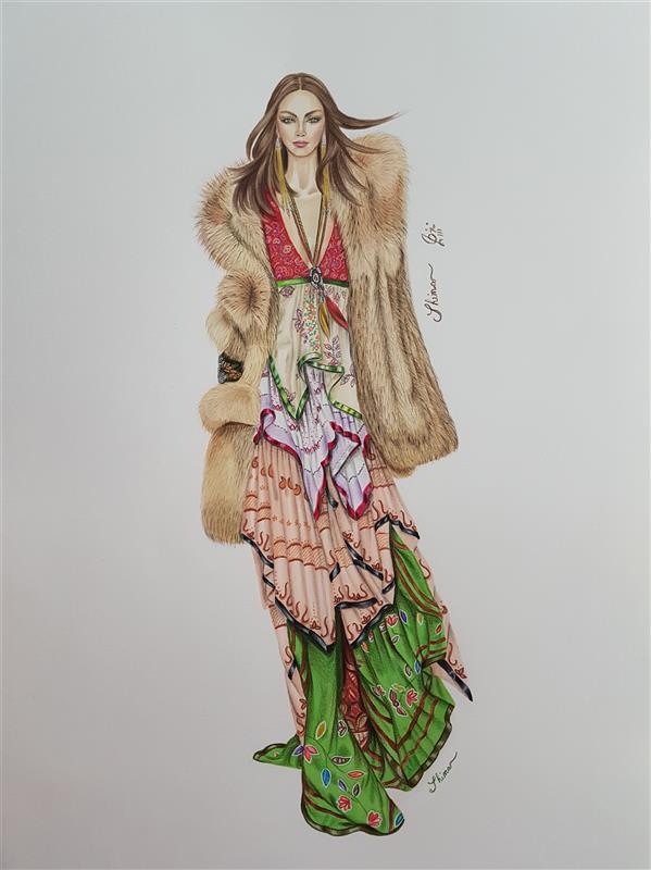 هنر نقاشی و گرافیک محفل نقاشی و گرافیک Shimaf_art لباس ابریشم و کت خز با استفاده از ماژیک و مدادرنگ روی مقوای اشتنباخ ابعاد A3
