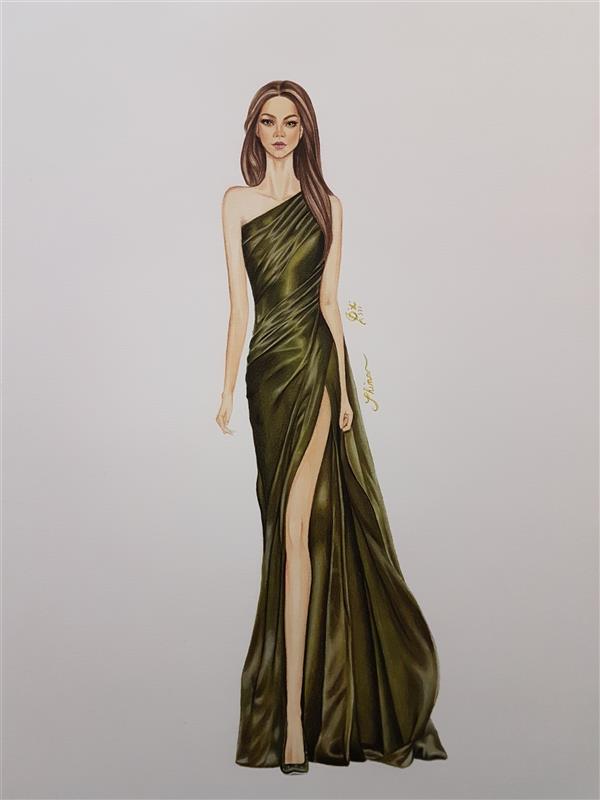 هنر نقاشی و گرافیک محفل نقاشی و گرافیک Shimaf_art مدل با لباس سبز ساتن. استفاده از ماژیک و مدادرنگ روی مقوای اشتنباخ A3