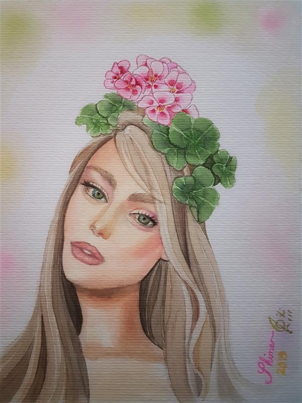 هنر نقاشی و گرافیک محفل نقاشی و گرافیک Shimaf_art نقاشی آبرنگ روی مقوای فابریانو ترکیب چهره سوپرمادل تیلور هیل با گلهای شمعدانی ابعاد ۱۳ در ۱۸