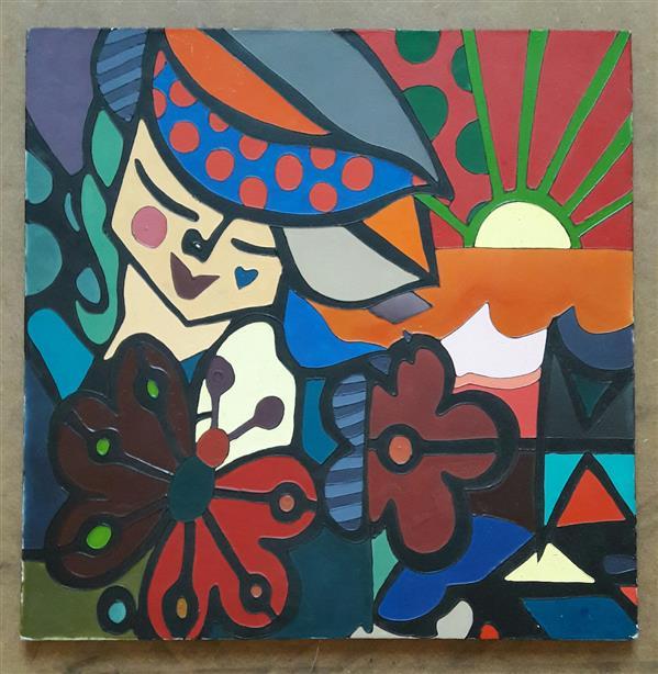هنر نقاشی و گرافیک محفل نقاشی و گرافیک LelinArt #نقاشی روی بوم #طرح #انتزاعی. ابعاد ۴۰*۴۰