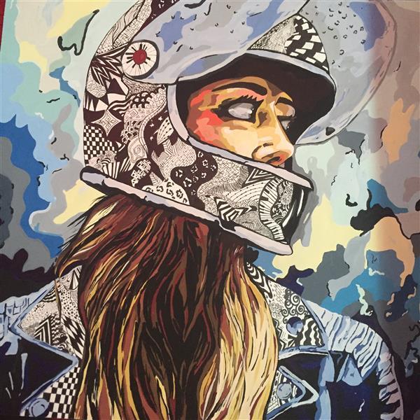 هنر نقاشی و گرافیک محفل نقاشی و گرافیک صدف جعفری کار ذهنی شاسی شده تکنیک گواش و راپید سایز ٤٠*٤٠