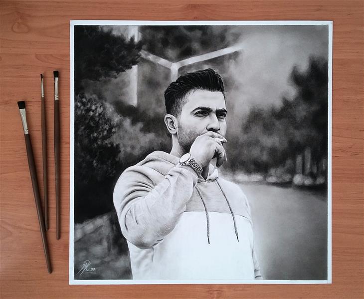 هنر نقاشی و گرافیک محفل نقاشی و گرافیک sara karimi تکنیک #کنته#سیاهقلم #پودر زغال نقاشی #اورجینال