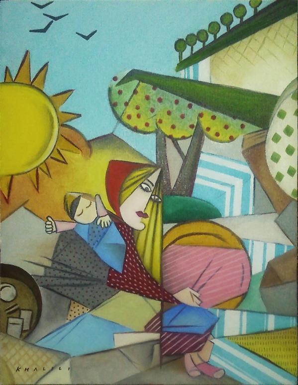 هنر نقاشی و گرافیک محفل نقاشی و گرافیک پیام خلیلی زن کنار رودخانه Woman by a river رنگروغن روی بوم سایز 35 * 45