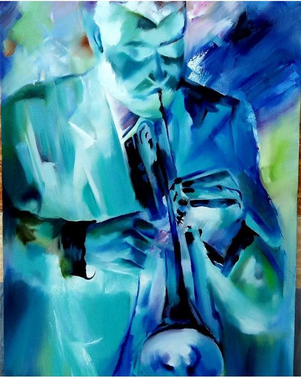 هنر نقاشی و گرافیک محفل نقاشی و گرافیک شیوا عوض زاده تکنیک :رنگ روغن نام تابلو:نوازنده ابعاد:۱۰۸×۶۰