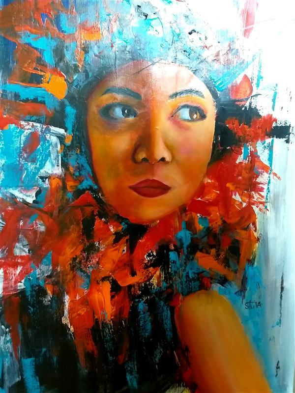 هنر نقاشی و گرافیک محفل نقاشی و گرافیک شیوا عوض زاده چهره مدرن تکنیک رنگروغن و اکرلیک  #سفارش چهره
