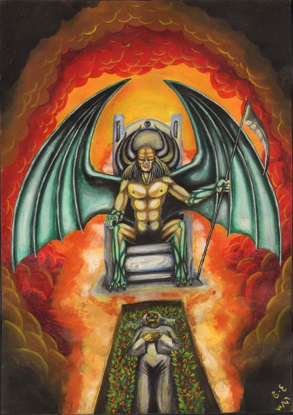 هنر نقاشی و گرافیک محفل نقاشی و گرافیک علیرضا جلا 1378.09.6 King of hell  کافر کمی بزرگتر از A4 #تصویرسازی#آبرنگ#گواش#نقاشی