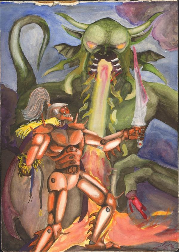هنر نقاشی و گرافیک محفل نقاشی و گرافیک علیرضا جلا 1373.06.6 Robot vs Dragon کمی بزرگتر از A4 #تصویرسازی#نقاشی#اژدها#آبرنگ#گواش