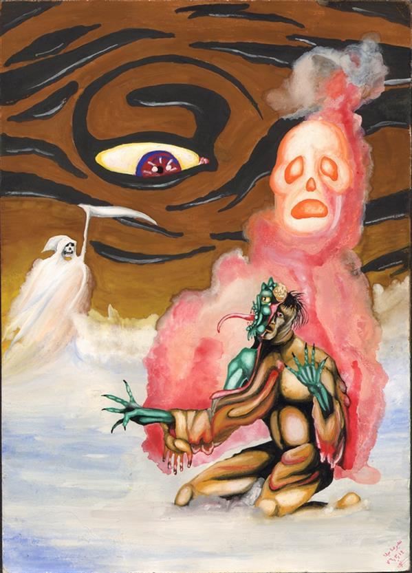هنر نقاشی و گرافیک محفل نقاشی و گرافیک علیرضا جلا 1376.03.14 conscience کمی بزرگتر از A4 #تصویرسازی#آبرنگ#گواش#برزخ#رستاخیز#قیامت