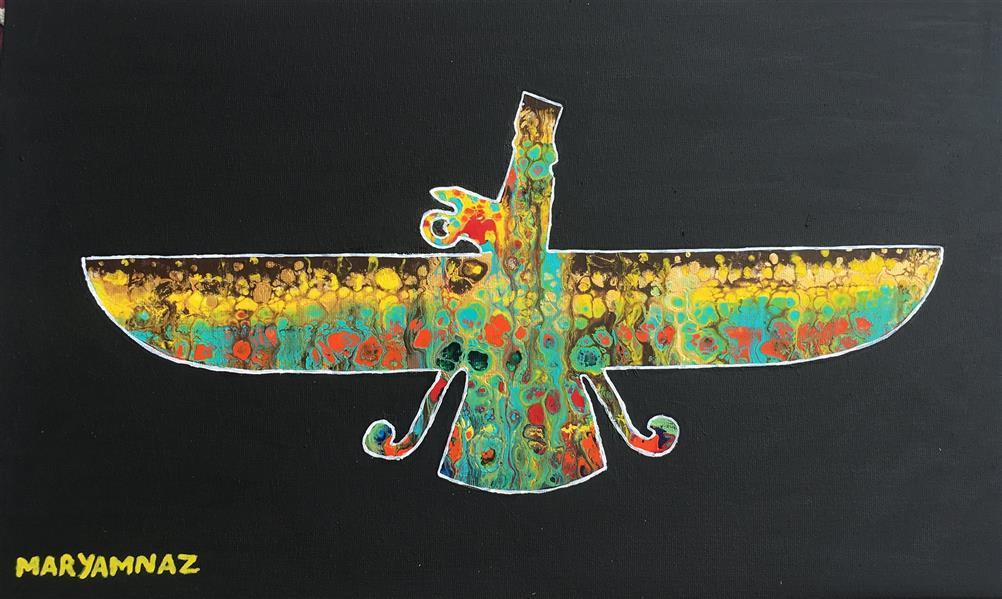 هنر نقاشی و گرافیک محفل نقاشی و گرافیک مریم ناز فلاحی سبک فلوید ارت تکنیک اکریلیک  نام اثر   :نماد  فروهر کوروش