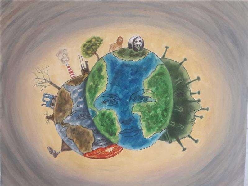 هنر نقاشی و گرافیک محفل نقاشی و گرافیک مریم ناز فلاحی  نفس زمین بعد ار کرونا رنگ روغن سایز ۴۰*۵۰