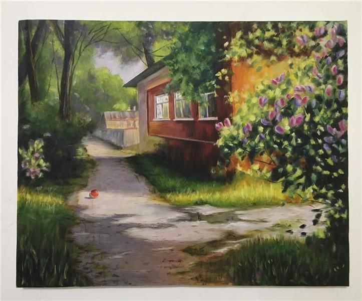 هنر نقاشی و گرافیک محفل نقاشی و گرافیک مریم ناز فلاحی منظره  طبیعت روستای رنگ روغن سال ۹۹ نام  هنرمند مریم ناز فلاحی