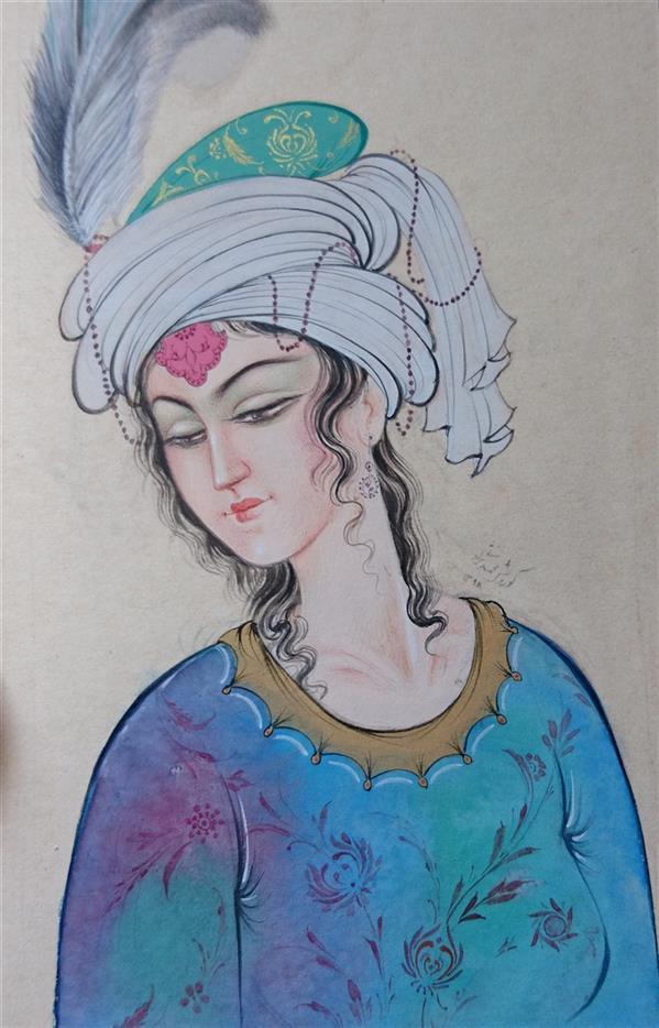 هنر نقاشی و گرافیک محفل نقاشی و گرافیک کوروش محمدی نژاد بانوی ایرانی نگارگری گواش و آبرنگ کوروش محمدی نژاد 1398