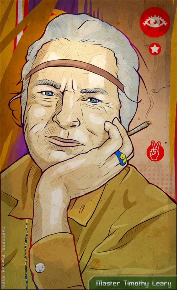 هنر نقاشی و گرافیک محفل نقاشی و گرافیک فرزاد شفیعی استاد روانشناس تیموتی لیری، بر علیه نادانی های بشر #دیجیتال  #Thatness
