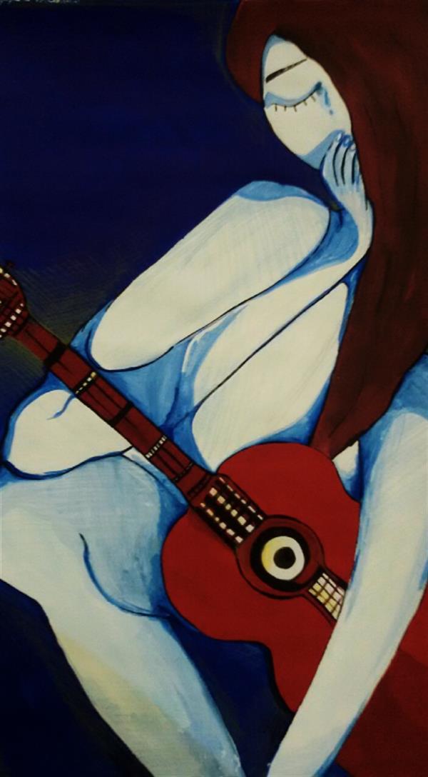 هنر نقاشی و گرافیک محفل نقاشی و گرافیک ریحانه مهدوی  تکنیک گواش #دختر و گیتار  اندازه