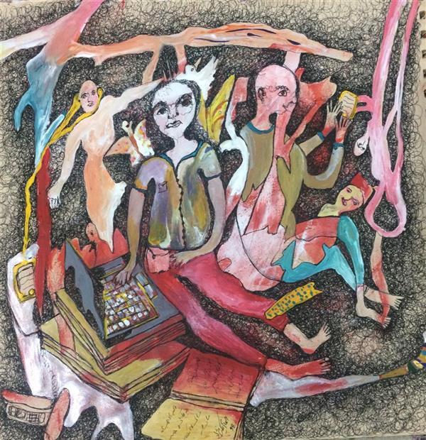 هنر نقاشی و گرافیک محفل نقاشی و گرافیک الهام بیک نژاد ۲۹*۲۹ آکرلیک و روانویس روی کاغذ
