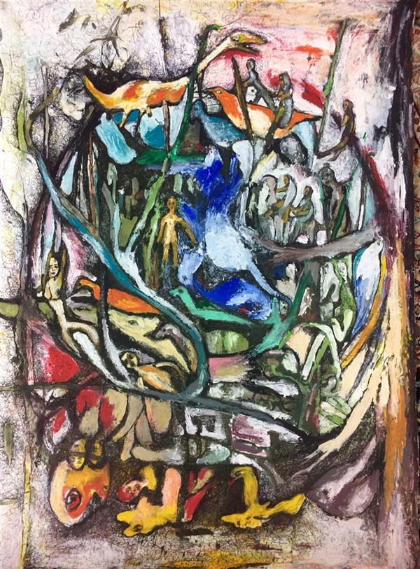 هنر نقاشی و گرافیک محفل نقاشی و گرافیک الهام بیک نژاد آکرلیک و روان نویس روی مقوا50*70