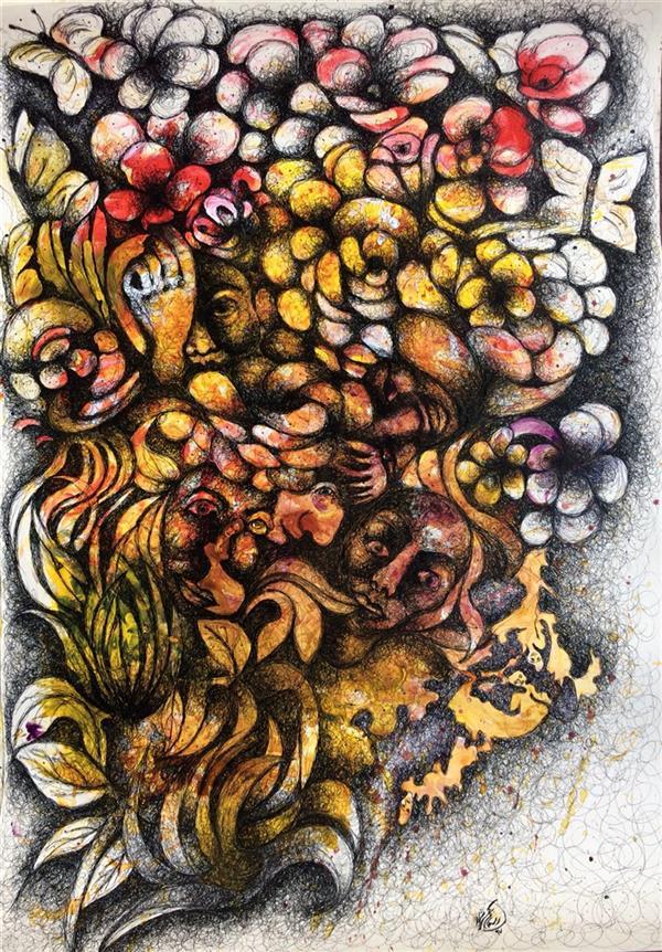 هنر نقاشی و گرافیک محفل نقاشی و گرافیک الهام بیک نژاد آکریلیک و روانویس روی  مقوا سایز٥٠*٧٠سانتی متر #فروخته_شد