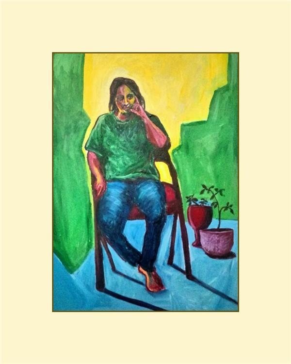 هنر نقاشی و گرافیک محفل نقاشی و گرافیک هادی خانی دختری در کویر سبز 50 در 70 سانتی متر روی بوم. اکریلیک