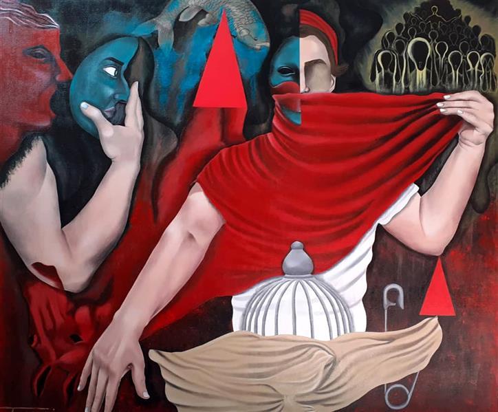 هنر نقاشی و گرافیک محفل نقاشی و گرافیک  عادل طبری از مجموعه ی #تَنِشِ_تَن #اکریلیک روی بوم ابعاد اثر : 100*90