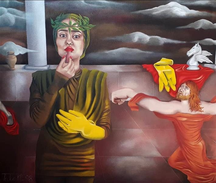 هنر نقاشی و گرافیک محفل نقاشی و گرافیک  عادل طبری از مجموعه ی #تَنِشِ_تَن اکریلیک روی بوم ابعاد اثر 90*100