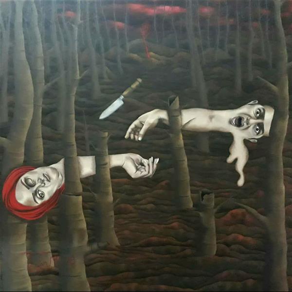 هنر نقاشی و گرافیک محفل نقاشی و گرافیک  عادل طبری از مجموعه ی #تَنِشِ_تَن اکریلیک روی بوم ابعاد اثر : 140*140