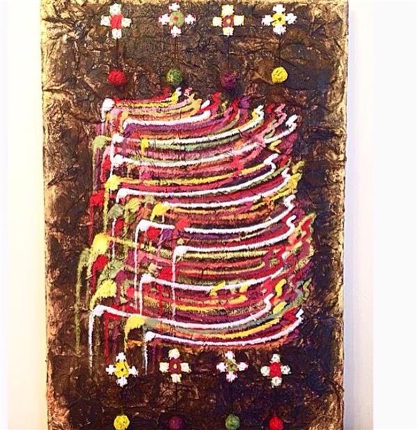 هنر نقاشی و گرافیک محفل نقاشی و گرافیک Mina hashemi سایز۵۰/۷۰.                                         ترکیب مواد                                         گلیم عشق