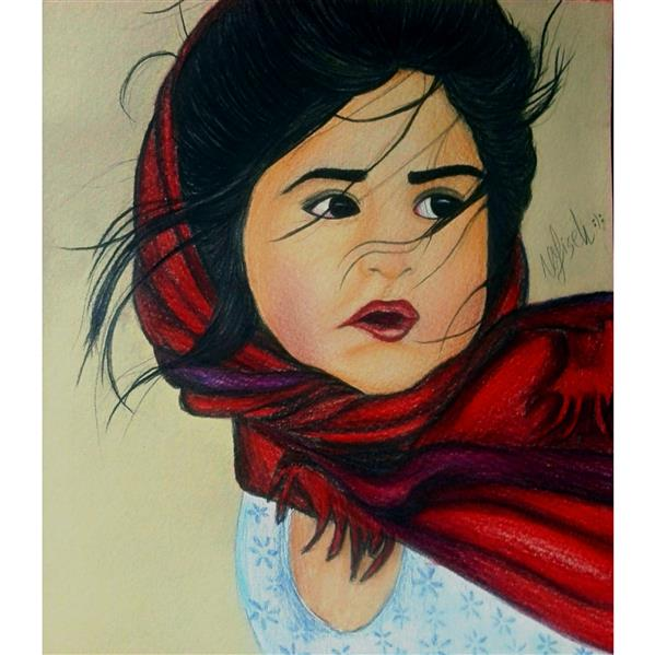 هنر نقاشی و گرافیک محفل نقاشی و گرافیک نفیسه امیری  #مدادرنگی#نقاشی_دختر#نفیسه_امیری :(: