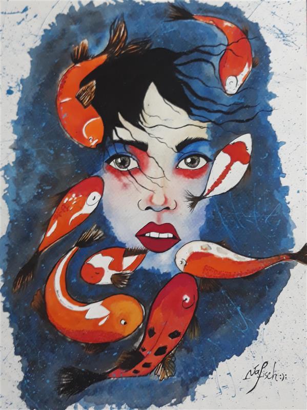 هنر نقاشی و گرافیک محفل نقاشی و گرافیک نفیسه امیری  #گواش#آبرنگ#دختر#ماهی#نفیسه_امیری :(: