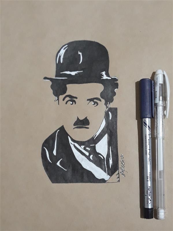 هنر نقاشی و گرافیک محفل نقاشی و گرافیک نفیسه امیری  #راپید#چارلی_چاپلین#نفیسه_امیری :):