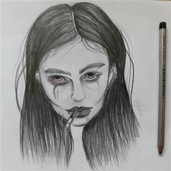 هنر نقاشی و گرافیک محفل نقاشی و گرافیک نفیسه امیری  #مداد#دختر#غمگین#نفیسه_امیری :(: