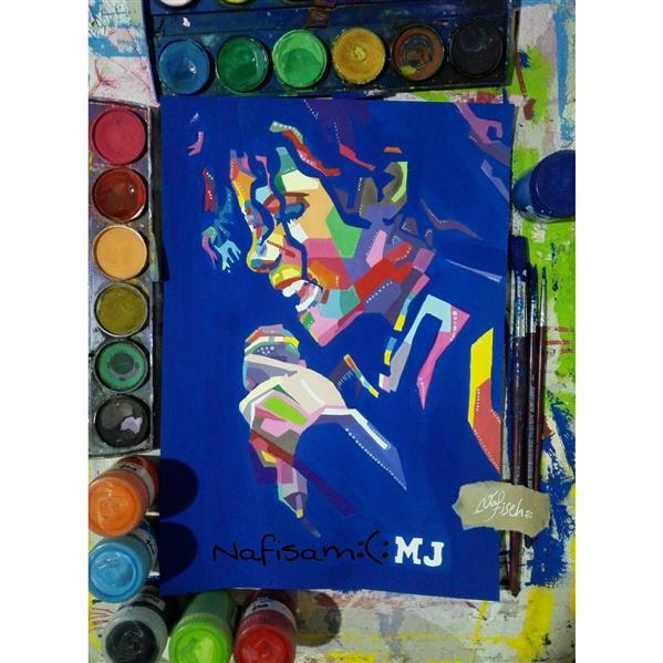 هنر نقاشی و گرافیک محفل نقاشی و گرافیک نفیسه امیری  #پاپ آرت#گواش#آبرنگ#مایکل_جکسون#نفیسه_امیری  :):