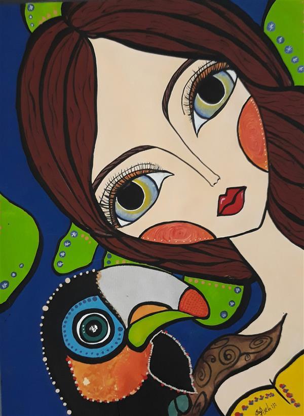 هنر نقاشی و گرافیک محفل نقاشی و گرافیک نفیسه امیری  #آبرنگ#گواش#دختر#تصویرسازی #نفیسه_امیری :(: