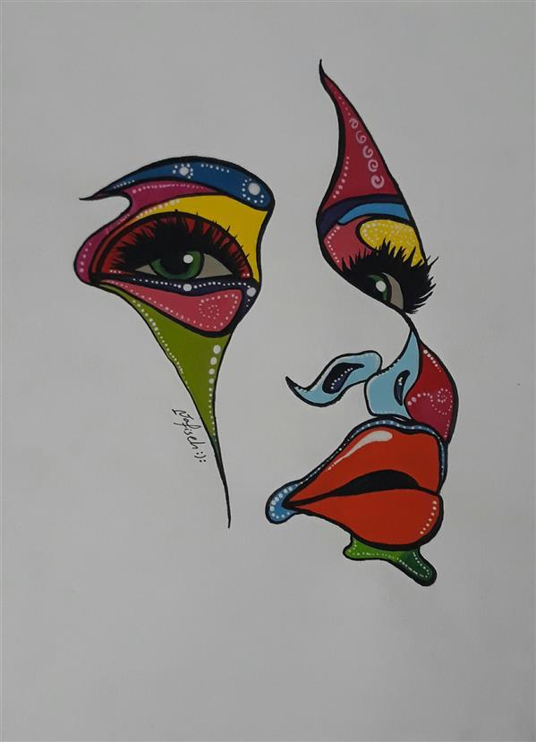 هنر نقاشی و گرافیک محفل نقاشی و گرافیک نفیسه امیری  #آبرنگ#گواش#دختر#نفیسه_امیری :(: