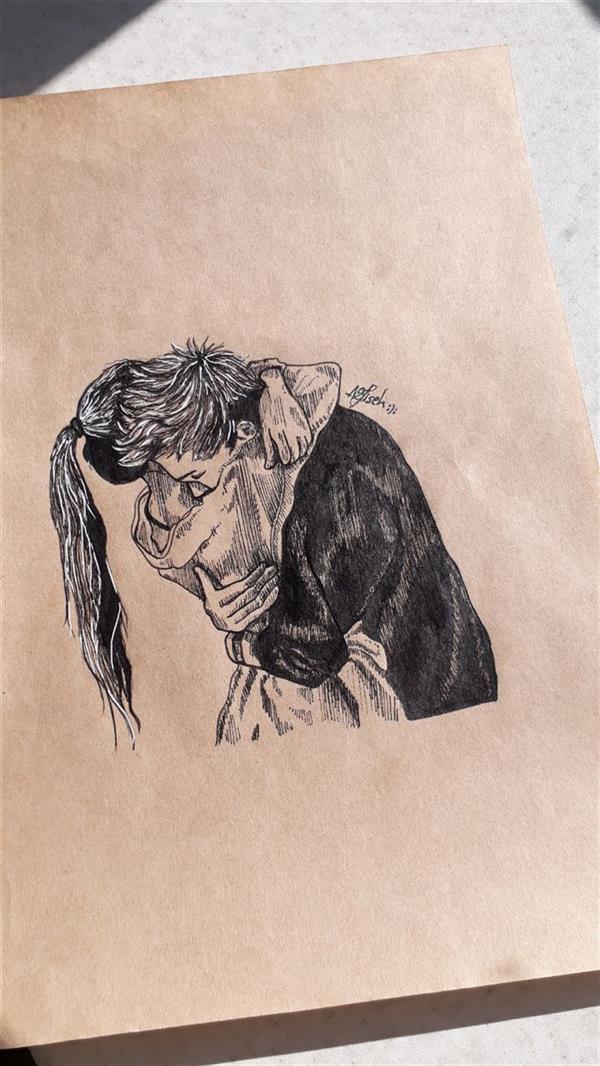 هنر نقاشی و گرافیک محفل نقاشی و گرافیک نفیسه امیری  #راپید#عاشقانه#دختر#پسر #نفیسه_امیری :(: