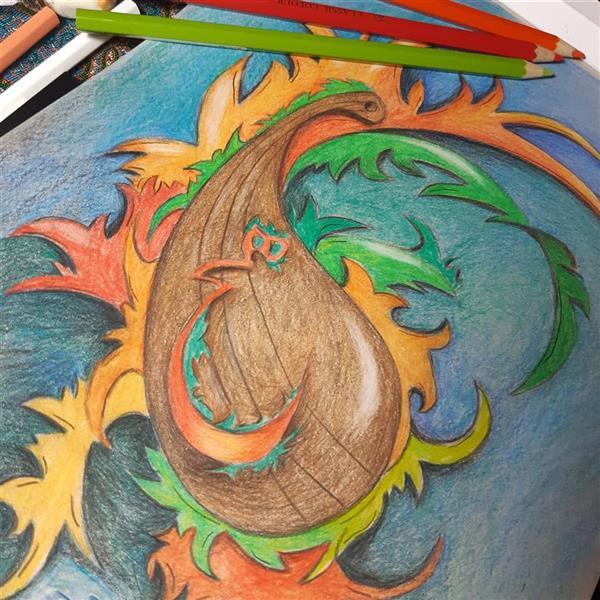 هنر نقاشی و گرافیک محفل نقاشی و گرافیک مرجان سپیده خو مینوازد# تار در هیچستان اثر:#اورژینال #مدادرنگی