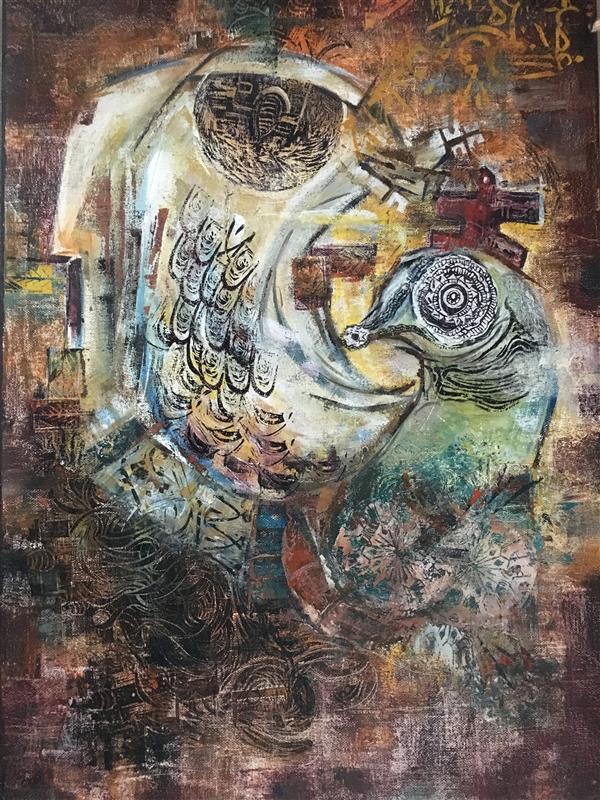 هنر نقاشی و گرافیک محفل نقاشی و گرافیک هانی #هانی #هانیه_ثنایی#بند_پر #زن #طلسم #سقاخانه  یکی از اثار مجموعه نمایشگاهی بند پر، تکنیک میکس، سایز ۵۰×۷۰، الهام گرفته از سبک سقاخانه (کار به صورت افقی می باشد)