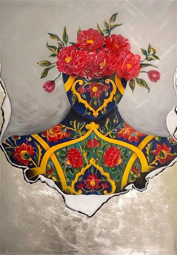 هنر نقاشی و گرافیک محفل نقاشی و گرافیک ارغوان مناجاتی نام اثر:از قالب خو بیرون بیا تکنیک اکرلیک روی بوم همراه با ورق نقره ابعاد١٠٠*٧٠  قیمت:٤٠٠٠٠٠٠ #ارغوان_مناجاتی #arghavanmonajati