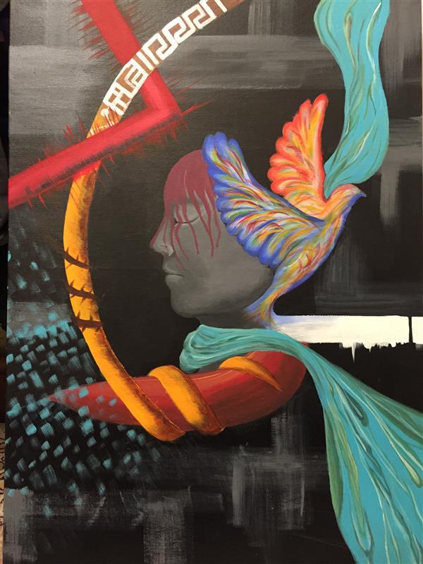 هنر نقاشی و گرافیک محفل نقاشی و گرافیک Behnaz #اکرلیک #ابعاد ۶۰*۴۰ #نیمرخ #صورت #پرنده