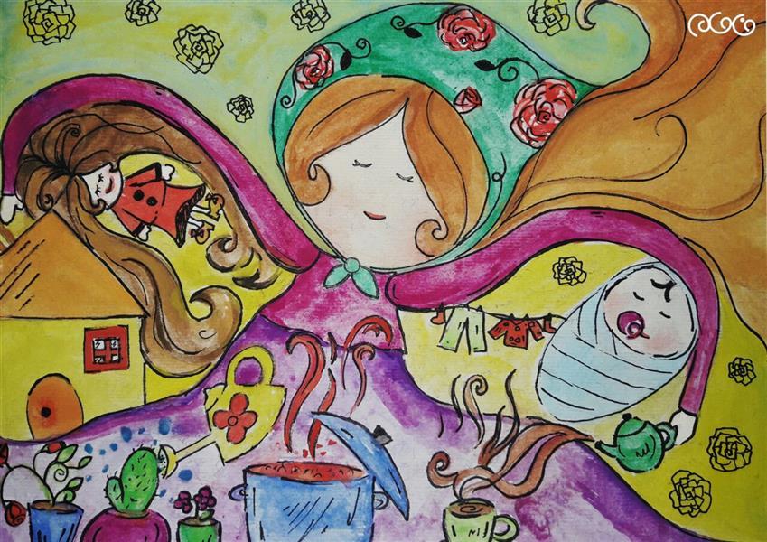 هنر نقاشی و گرافیک محفل نقاشی و گرافیک 🍃🌸گالرے هنرے گلبـــــهار🌸🍃 #مادر#تصویرسازی