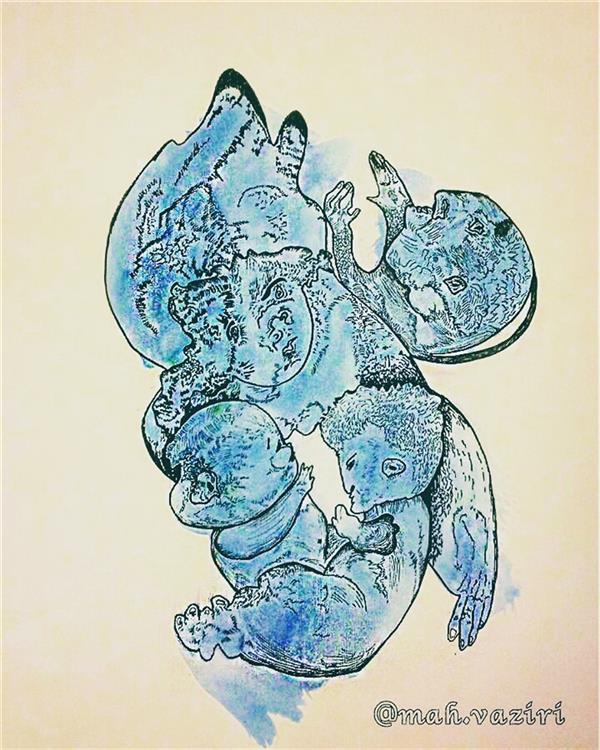 هنر نقاشی و گرافیک محفل نقاشی و گرافیک مهناز وزیری #طراحی-ذهنی تکنیک راپید بر روی مقوا ابعاد 46*32 قاب شده با چوب