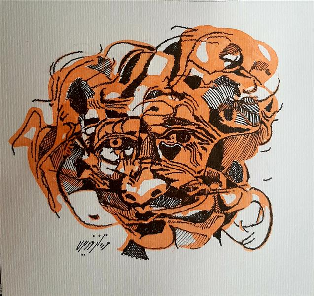 هنر نقاشی و گرافیک محفل نقاشی و گرافیک مهناز وزیری راپید، مرکب روی مقوا #اورجینال#ذهنی#مدرن