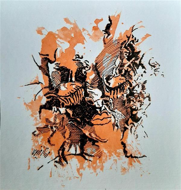 هنر نقاشی و گرافیک محفل نقاشی و گرافیک مهناز وزیری راپید و مرکب روی مقوا#اورجینال#ذهنی #mental#orginal
