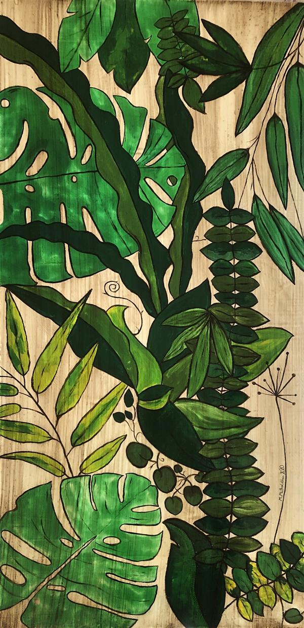 هنر نقاشی و گرافیک محفل نقاشی و گرافیک مرضیه میرقلیخان #نقاشی عنوان: برگهای سبز | ۱۳۹۹ | ابعاد: ۱۰۰*۵۰ | متریال: ترکیب مواد، بوم دیپ.