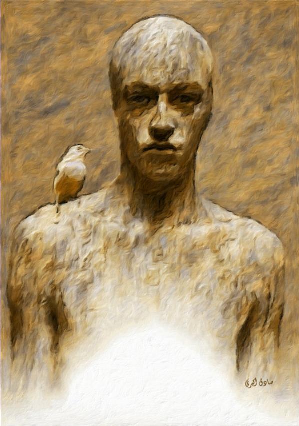 هنر نقاشی و گرافیک محفل نقاشی و گرافیک صادق اکبری عنوان:انسان و پرنده